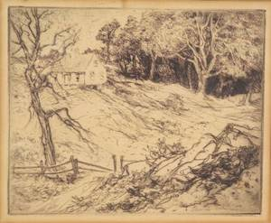 Charles Herbert Woodbury American 18641940 Lot of Four Prints Old Trees and Shacks House and Fields Bather