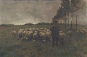 Attributed to Anton Mauve Dutch 18381888 A Shepherd with His Flock