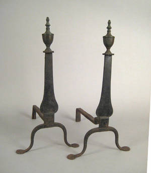 Pair of Federal knife blade andirons ca 1790