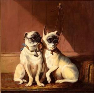British School 19th Century Portrait of Two Pug Dogs