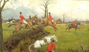 Attributed to George Wright British 18601942 Full CryA Fox Hunting Scene