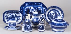 Approximately Sixtyeight Flow Blue Dinner Service Items