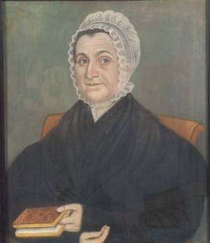 Attributed to Micah Williams New Jersey and New York 17821837 Portrait of a Woman Holding a Book
