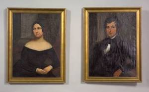 American School 19th Century Pair of Portraits of a Young Couple