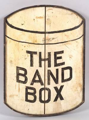 Painted Wooden The Band Box Trade Sign
