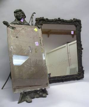 Patinated Cast Metal Moorish Figural Table Mirror and a Victorian Cast Iron Framed Mirror