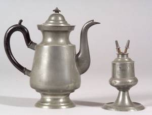 Pewter Teapot and Fluid Burning Lamp