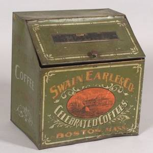Swain Earle  Co Paint Decorated Coffee Bin