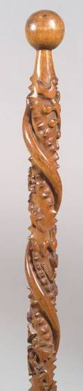 Carved Wooden Folk Art Cane