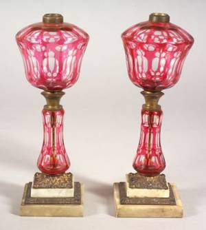 Pair of Cranberry Cut to Clear Overlay Glass Table Lamps
