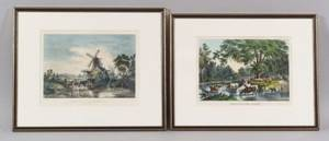 Nathaniel Currier and Currier  Ives publishers American 19th Century Lot of Two Lithographs Fording the River