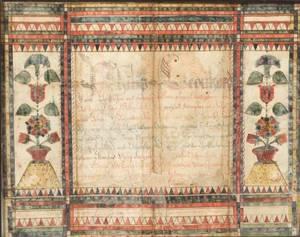 Watercolor Fraktur Birth Certificate