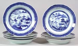 Eight Canton Porcelain Soup Plates