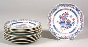 Set of Twelve Chinese Imari Porcelain Plates