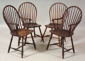 Pair of Bowback Windsor Bambooturned Armchairs