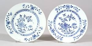 Pair of Blue and White Chinese Export Porcelain Plates