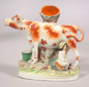 Staffordshire Pottery Cow Figural Spill Vase