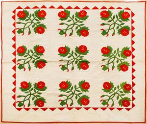 Appliqu rose variant quilt late 19th c