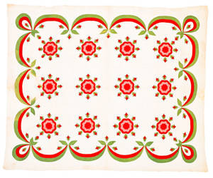 Appliqu quilt in a rose pattern late 19th c