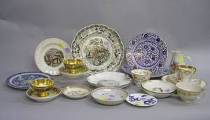 Approximately Twenty Pieces of Assorted 19th Century Asian and European Decorated Ceramic Tableware