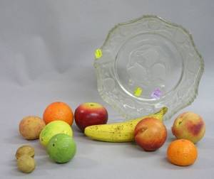 Eleven Pieces of Painted Carved Stone Fruit and Nuts in an Art Deco Colorless Molded Glass Bowl