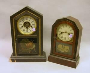 Atkins Clock Co Rosewood Veneer Shelf Clock and a Black Painted Waterbury Clock Co Shelf Clock