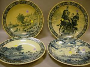 Set of Four Large Boch Blue and White Delfts Scenic Transfer Decorated Chargers