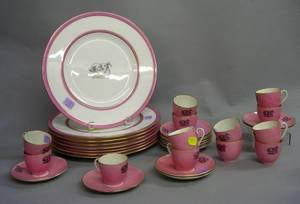Set of Eight Wedgwood Pink and Bull Decorated Porcelain Dinner Plates and a Set of Thirteen Grindley Pink and Bull Decorated Porcelain