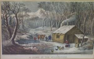 Framed Currier  Ives Print A Home in the Wilderness