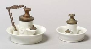 Two French Porcelain and MetalMounted Inkwells