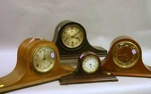 Four Tambour Mantel Clocks