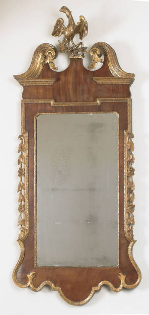 Impressive George III mahogany veneer and parcel gilt Constitution mirror ca 1770