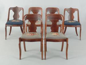 Assembled set of six classical mahogany dining chairs ca 1840