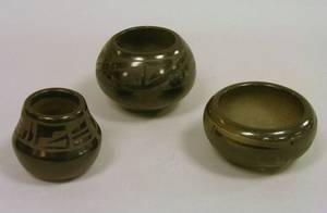Three Small Southwest Native American Decorated Blackware Items