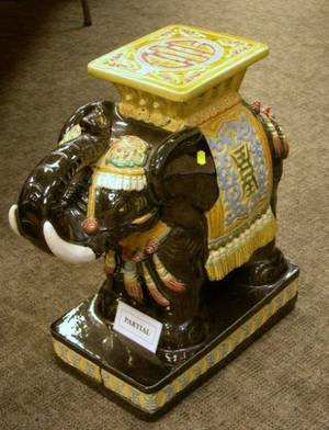Pair of Chinese Export Polychrome Enamel Glazed Ceramic Figural Elephant Garden Seats