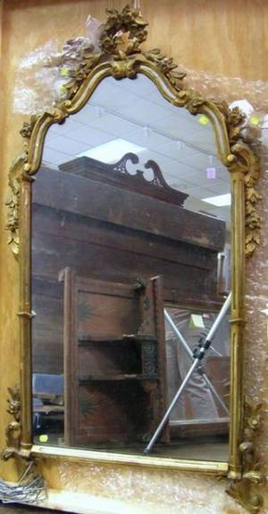 Continental Rococostyle Carved Giltwood Mirror with Inset Mirror Segments