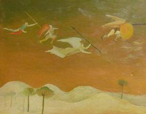 Framed Oil of Flying Angels