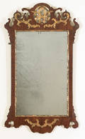 Chippendale mahogany veneer and parcel gilt looking glass ca 1770