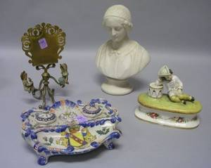 Parian Bust a Spanish Porcelain Figural Inkstand a Continental Faience Inkstand and a Giltmetal and Painted Cast Iron Figural Table