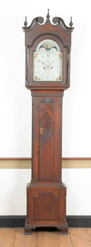 Pennsylvania Chippendale walnut tall case clock ca 1795
