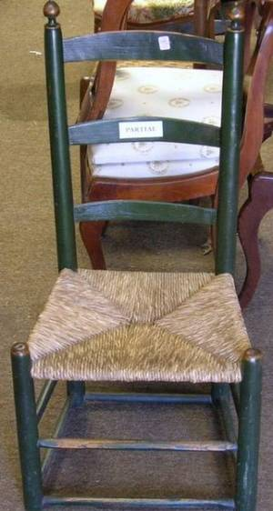Childs Painted Thumbback Side Chair and a Green Painted Slatback Side Chair