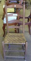 Ladderback Side Chair and a Queen Anne Brown Stained Side Chair
