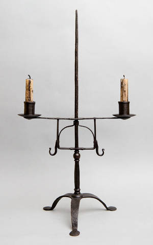 Wrought iron table top lighting device 19th c