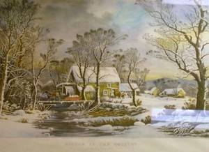Framed Currier  Ives Restrike Print Winter in the Country The Old