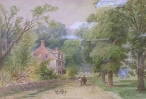 Framed Watercolor of Figures on a Country Road