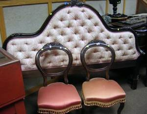 Victorianstyle Upholstered Carved Walnutfinished Headboard and a Pair of Victorian Upholstered Carved Walnut Parlor Chairs