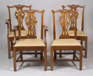 Set of Eight Benjamin Ferber Chippendalestyle Carved Mahogany Dining Chairs with Upholstered Slip Seats