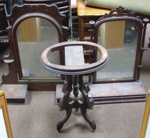 Victorian Walnut Dressing Mirror on Cabinet and Dressing Mirror with Glove Drawers a and a Victorian Marbletop Walnut Stand