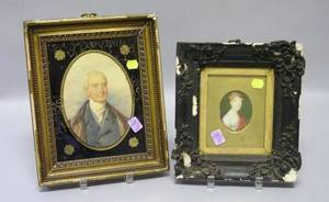 Framed Miniature Oval Portrait of a Young Woman on Ivory and a Framed Watercolor Portrait of a Gentleman with Eglomise Mat