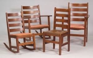 Suite of Four Arts  Crafts Oak Slatback Chairs